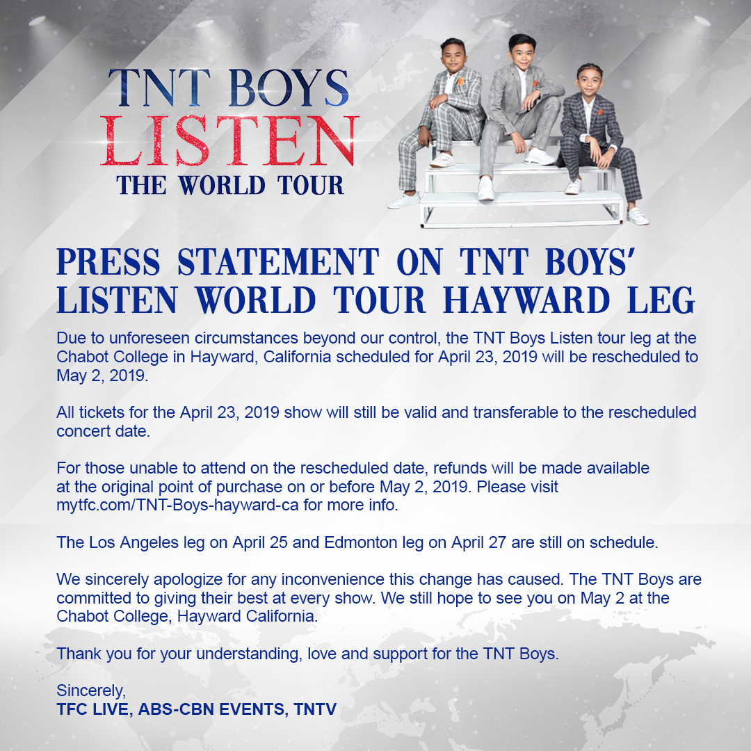 MyTFC - TNT BOYS LISTEN: THE WORLD TOUR