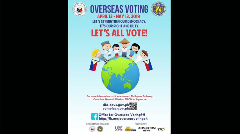 Overseas Filipinos voting to commence on April 13