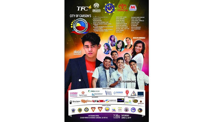 City of Carson, PIDF celebrate its Filipino summer destination event  in the 121st Philippine Independence Day Celebration on June 8;  ABS-CBN TFC-Tarsier-myxTV Hour to showcase Inigo, The Filharmonic